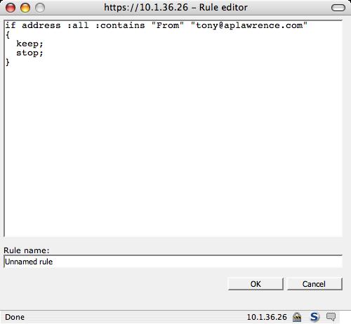 webmail rule script editor