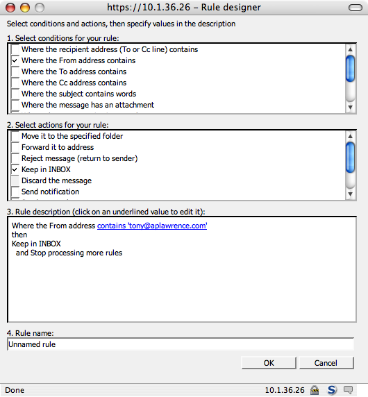 webmail rule designer