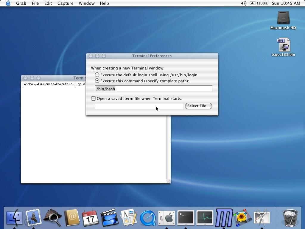 tcsh shell on mac os x terminal