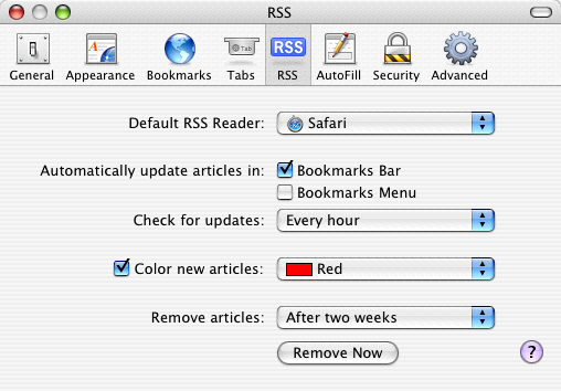 Safari RSS Preferences pane