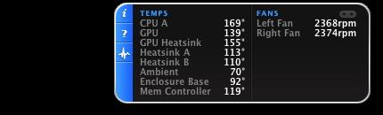 iStat pro Widget showing CPU A 169F, 2038 RPM left fan, enclosure 94 F