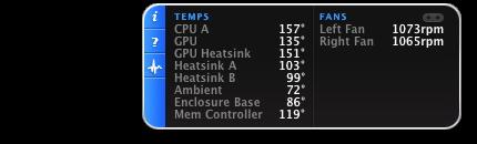 iStat pro Widget showing CPU A 157 F, 1073 RPM left fan, enclosure 86 F