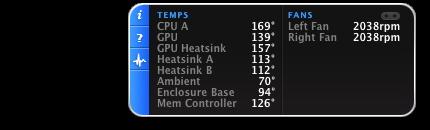 iStat pro Widget showing CPU A 169 F, 2368 RPM left fan, enclosure 92 F