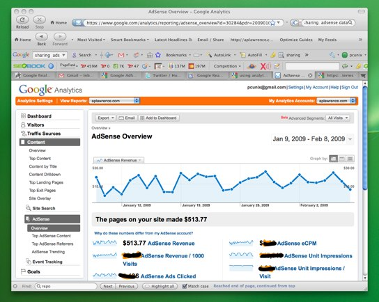 Adsense Overview in Analytics