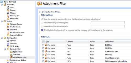 Kerio Connect Attachment Filtering