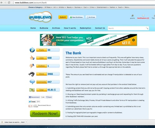 Bubblews Bank page