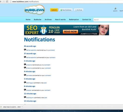Bubblews Notifications