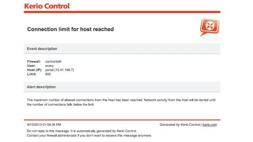 Keri Connection Limit Alert message.