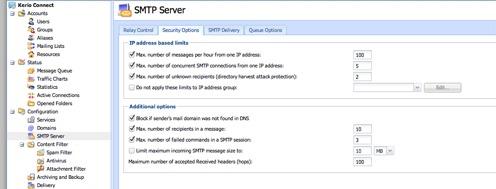 Kerio Connect SMTP Server Connection Limits