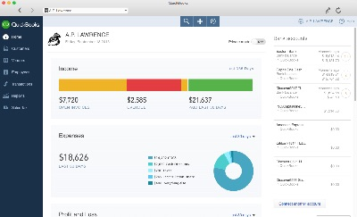Quickbooks Online main screen