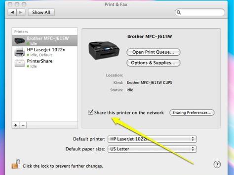 Mac printer sharing