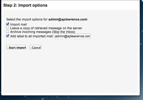 POP Import to Gmail