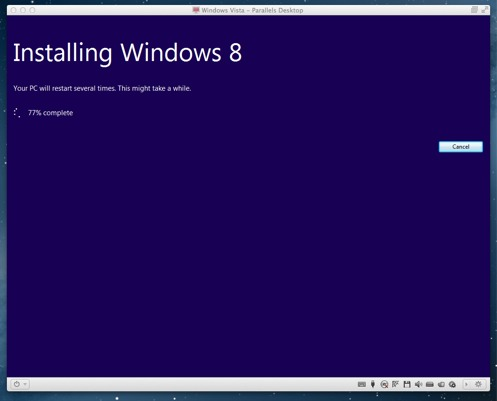 Windows 8 begins to install