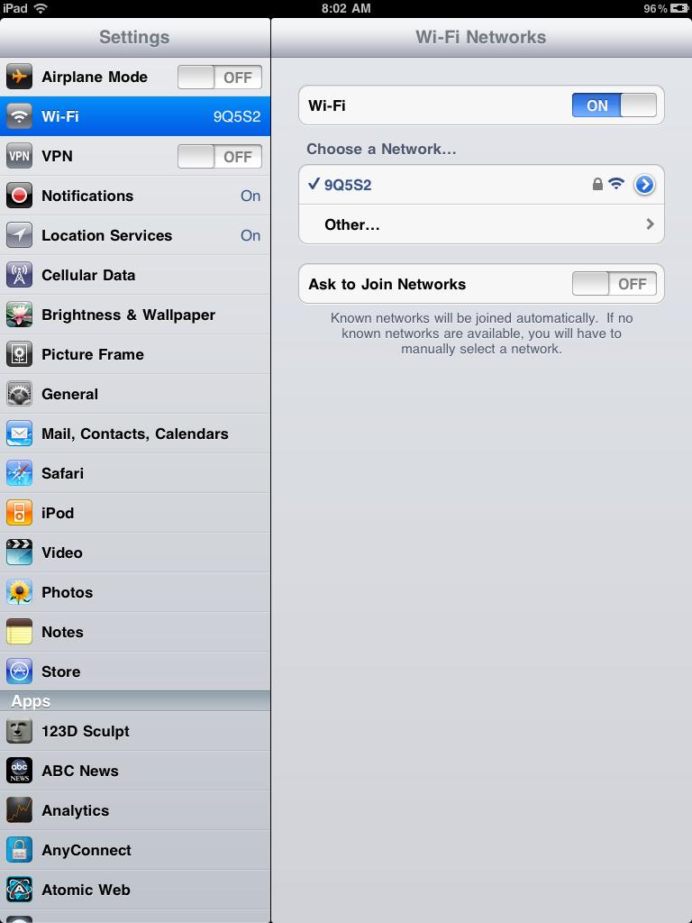 Как включить WI FI на iPad 2.