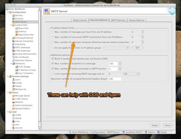 setting smtp limits Kerio Mailserver