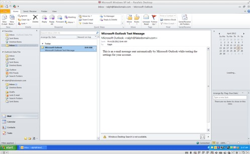 using fakedomain.com Outlook profile