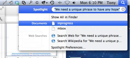 Spotlight finds very little very quickly