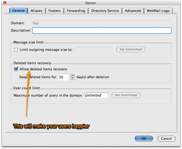 Kerio mail deleted item recovery