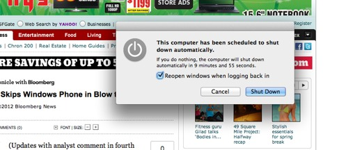 Mac about to shutdown
