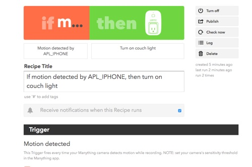 an IFTTT recipe for Manything and Wemo