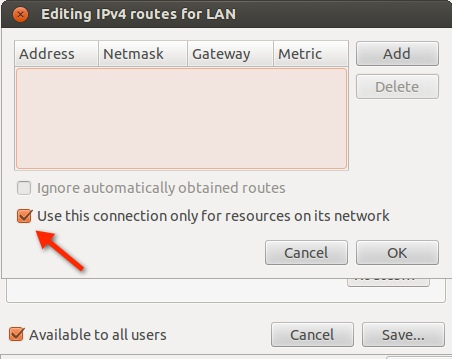 Use this connection only for resources on its network