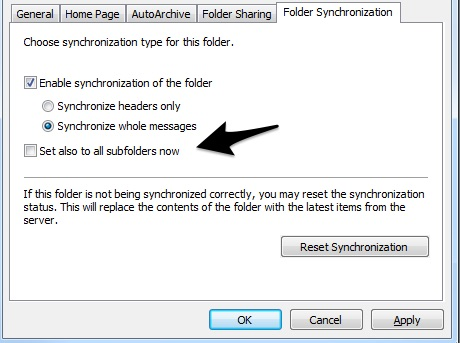 Synchronizing other folders