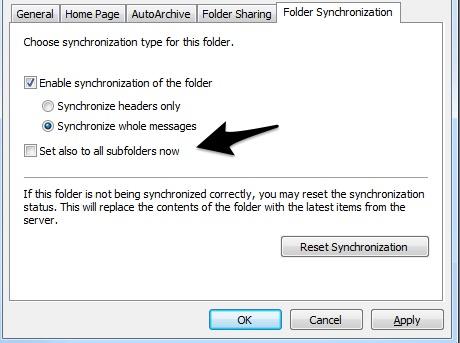 Synchronizing other folders