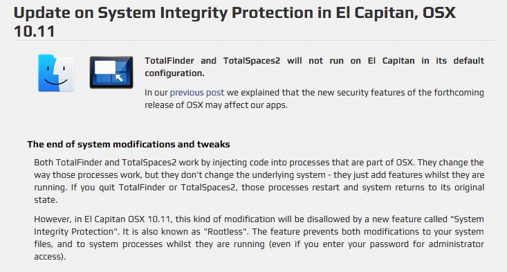 System Integrity Protection (SIP) in El Capitan kills some apps