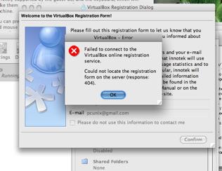 Virtualbox registration error