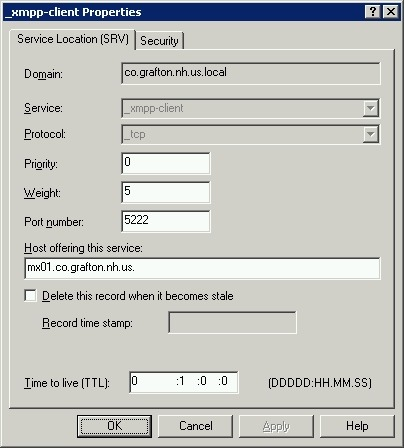 Windows DNS XMPP CLIENT RECORD