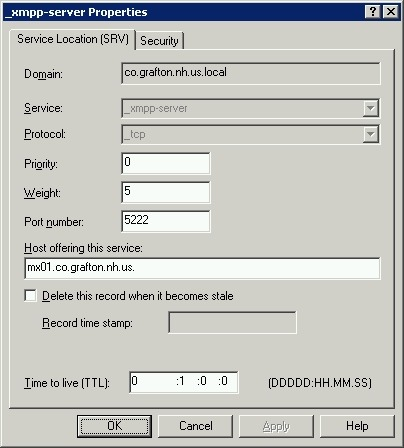 Windows DNS XMPP SERVER RECORD