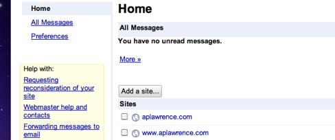 Webmaster Tools main screen