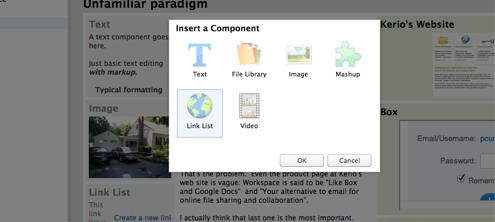 Workspace Component Types